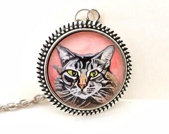 Custom Cat Necklace- Cat Portrait- Cat Necklace- Cat Painting- Tabby Cat- Kitty Necklace- Custom Cat Jewelry- Cat Memorial- Cat Lover Gift
