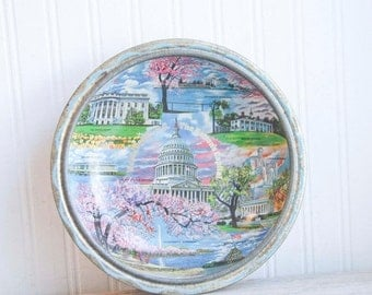 Vintage Washington DC Souvenir Tray with American Monuments -White House Lincoln - Cherry Blossoms, Historical Scenes, American History Gift