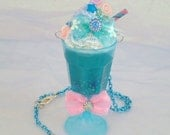 Dreamshake Necklace Raspberry Blue Cyber Candy Decora Milkshake Fairy Kei Kawaii Pendant Deco Parfait Cyberpop Resin Sunue Whipped Cream