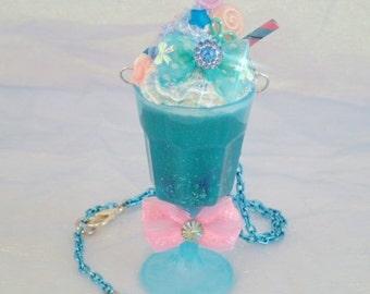 Dreamshake Necklace Raspberry Blue Cyber Candy Decora Milkshake Fairy Kei Kawaii Pendant Deco Parfait Cyberpop Resin Sunue Whipped Cream