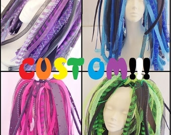 Custom You Pick Colors Cyberlox Neon Full Length Cyberpop Kawaii Pink Blue Green Yellow Orange Red Black white Purple Cybergoth Pastel
