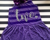 Birthday Glitter Dress Girls Birthday Dress Any Age Silver Glitter Striped Birthday Dress Pink Purple Mint Silver Black Birthday Girls Dress