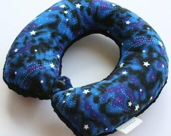 Child Travel Neck Pillow - Star Gazer w/ Black Minky
