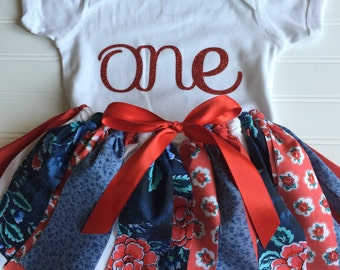 Red and Blue Floral Outfit