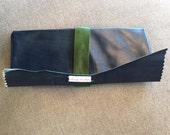 Leather Navy Blue and Hunter Green Clutch with Handstrap