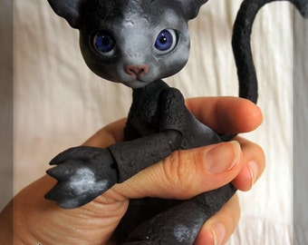 Scratch the Cat - Midnight Black Resin - ball joint doll / BJD - Spots #3