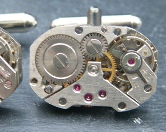 Stunning rectangular watch movement cufflinks ideal gift for a wedding, birthday or anniversary