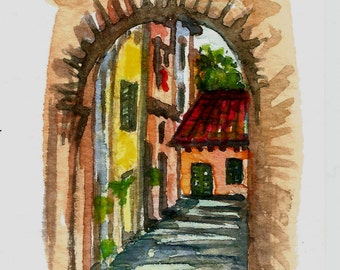 "Aceo Original Italian Landscape ACEO ART Painting Original Watercolor Landscape ""TUSCANY"" Italy  Italian Landscape & Scenic"