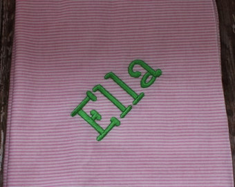 Embroidered Baby Blanket - Custom Flannel Blanket - Personalized Baby Blanket