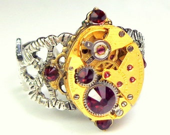 Vintage Gold Watch Movement, Steampunk Ring, Ruby Jeweled, Red Swarovski Crystal, Adjustable Filigree Band