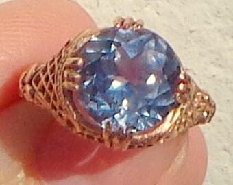 SALE, 10K Rose Gold,Lab Created,Russian Alexandrite Ring,Ornate Vintage Style Filigree Ring,Color Change Stone,Blue/Purple,Edwardian Design