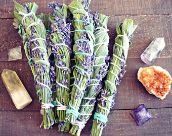 """Sage and Lavender Smudge Bundles - Smudge Stick - Lavender Smudge Stick - Sage Smudge Stick 7-8"""""""