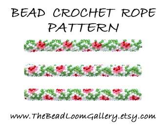 Bead Crochet Rope Pattern - Vol. 55 - Red Roses - PDF File