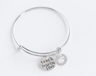 Teach Inspire Love -- Appreciation, thank you gold or silver bangle bracelet for teacher, helper, volunteer, aid, sunday school