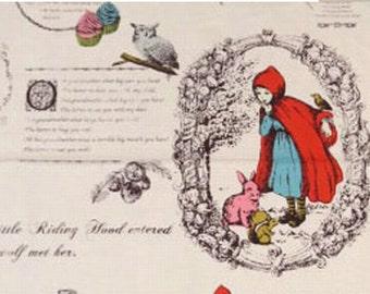 NUNOKARA Kokka :Red Riding Hood  Pink Beige  Panel   - Organic Cotton  Japanese Fabric -  55cm/1 panel