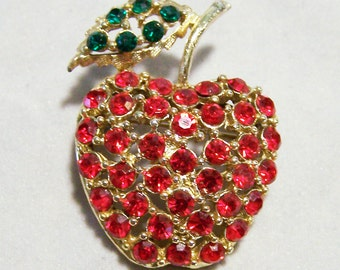 Rhinestone Apple Pin Red Green Glass Stones Gold Tone Setting Mid Century Vintage Jewelry 416DG