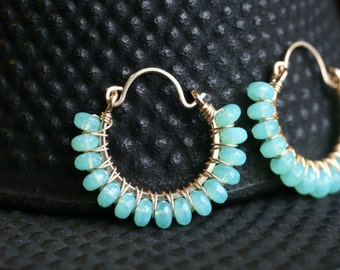 Aqua blue hoop, seafoam green, Czech glass beads, hoop earrings, beaded hoops, 14k gold filled, Mimi Michele Jewelry