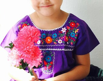 Mexican Embroidered Girls Dress in Purple
