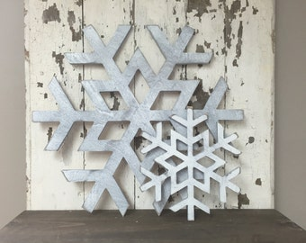 Snowflake White Distressed Christmas Winter Cut Wall Art Sign Decor