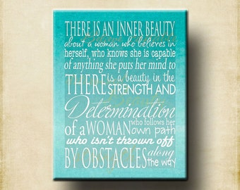 Inner Beauty Woman Word Art Print 11x14 - Motivational Mother mom women girl gift