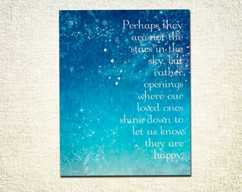 Perhaps They are not Stars - Word Art Print - 16x20 Gallery Wrapped Canvas - Loved ones shine down motivational quote