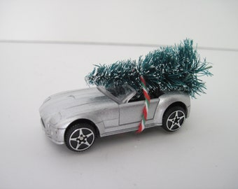 2004 FORD SHELBY Cobra Concept Convertible - Silver - Christmas ORNAMENT - Christmas Tree Tied to Top