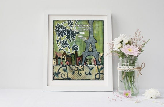 "Paris Eiffel Tower Mixed Media collage Print  ""Across the Miles"""