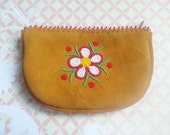 Beaded Leather Wallet, Native American Beaded Pouch, Flower Beadwork, Moosehide Leather Pouch, Native American Wallet, Purse, Change Purse