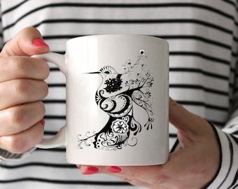 Hummingbird Zentangle Drawing Coffee Mug