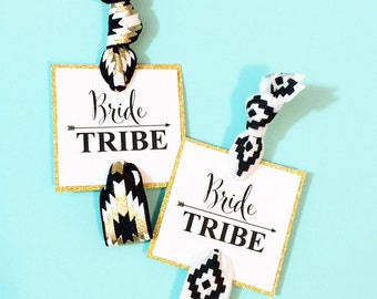 Single Set 1 card Hair Ties Bachelorette Party Favors Accessories Small Gift KIT Bridesmaids Leopard Print Glitter Hot Pink Black Turquoise