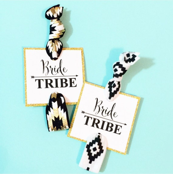 Bride Tribe Square Party Favor Hair Ties