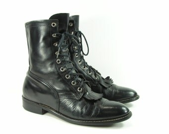 ankle cowboy boots womens 10 B M black Laredo men's 8.5 D vintage western leather ropers granny paddock usa