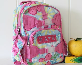 Mini Baby Backpack Pottery Barn (Mini Size) -- Pink/Blue Summer Floral
