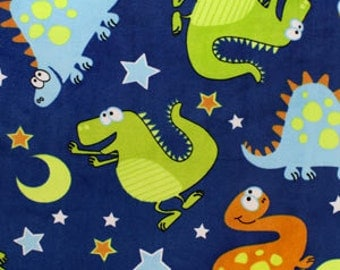 Dinosaur and Matching Light Blue Minky Baby Blanket Personalization Included Kid/Lap Size