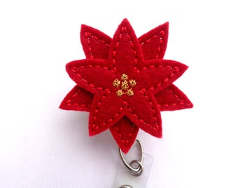 Christmas Badge Holder Retractable - Pretty Poinsettia - red felt flower - nurse badge reel medical badge reel winter holiday badge reel