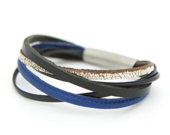 Blue leather cuff, multi-strand cuff bracelet - the XYZ Cuff