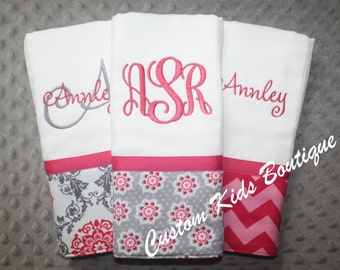 Fuschia and Gray Floral Baby Girl Burp Cloth Gift Set- Set of 3 Custom Monogrammed Burp Cloths