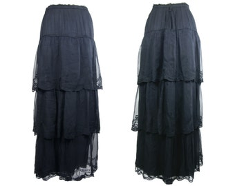 Edwardian Embroidered Black Silk Tiered Skirt Large