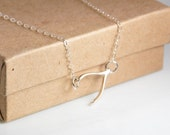 Sideways wishbone necklace, entirely made in sterling silver, birthday gift, wedding jewelry, mothers day gift, everyday dainty necklace
