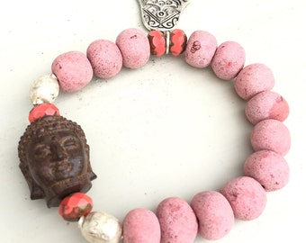 Wooden Buddha, african clay beads