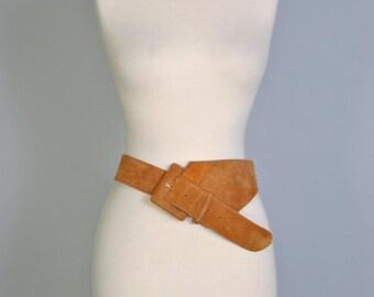 Vintage Leather Belt 70s Suede Statement Belt Oversize Wide Belt Medium