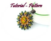 Beading pattern/Tutorial of beaded pendant Relli by Tiszi, pattern with Chilli beads, PDF instructions, Step by step