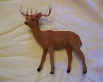sweet flocked fuzzy deer figurine