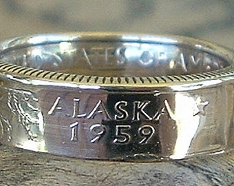 2008 Alaska State Quarter Coin Ring (90% Silver) (Available in sizes 4 through 9)