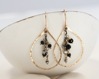 Hematite and Onyx Chandelier Earrings