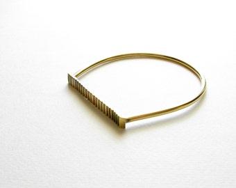 Minimalist Statement Bangle-Contemporary Jewelry-Brass Oxidized Bangle Bracelet-Greek Modern Jewelry-Modern Bangle-Gold Patina Bangle
