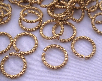 20pcs Textured Jump Ring 11mm Bling Bling Ring Raw Brass Finding t093