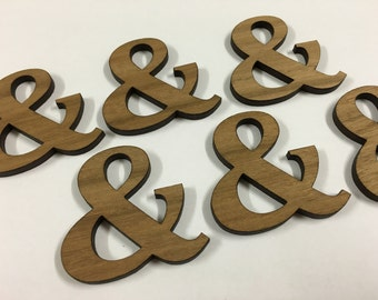 Ampersand in Queensland Walnut timber. Laser cut brooch supply - 6 pieces