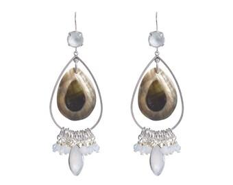 Gemstone and shell earrings - natural white Chalcedony gemstone earrings - Swarovski earrings - crystal earrings - long dangle earrings