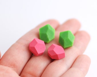 Diamond shape studs Geometric post earrings set of two pairs - green and pink